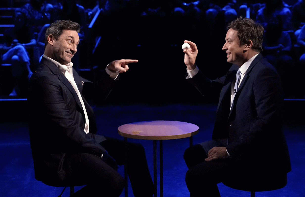 """Jimmy Fallon plays """"Egg Russian Roulette"""" with guest Jon Hamm on a recent episode of The Tonight Show. (Photo: Andrew Lipovsky/NBC)"""