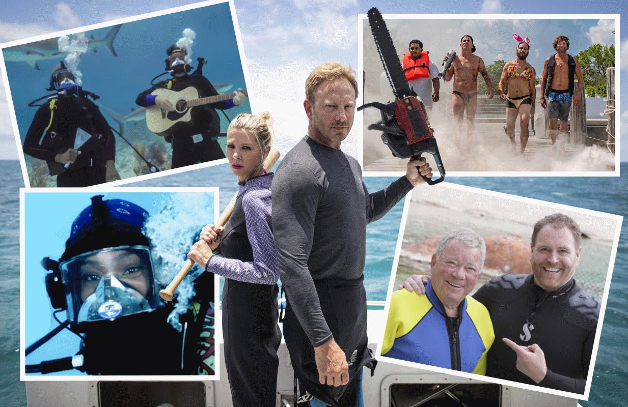 Brad Paisley, Tiffany Haddish, Tara Reid, Ian Ziering, the Jackass crew and William Shatner are all set to make Shark Week appearances this year. (Photos: Discovery)