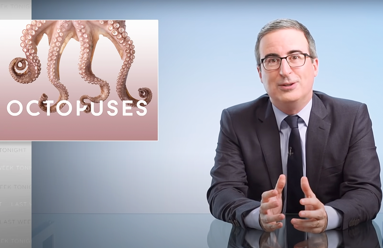 John Oliver is all-in on the humble octopus. (Photo: HBO)
