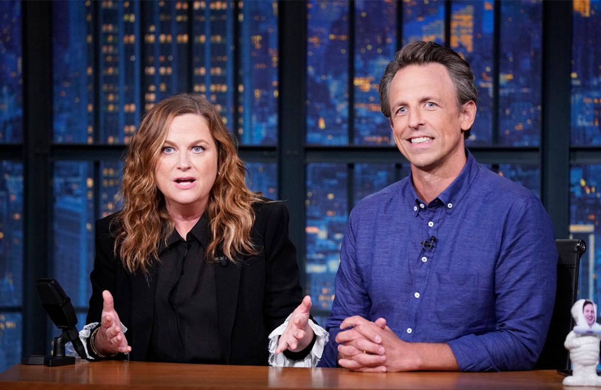 Amy Poehler and Seth Meyers host Really!?! on Late Night (Photo: Lloyd Bishop/NBC)