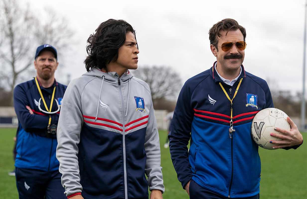Brendan Hunt, Cristo Fernandez, and Jason Sudeikis in Ted Lasso Season 2. (Photo: Apple TV+)