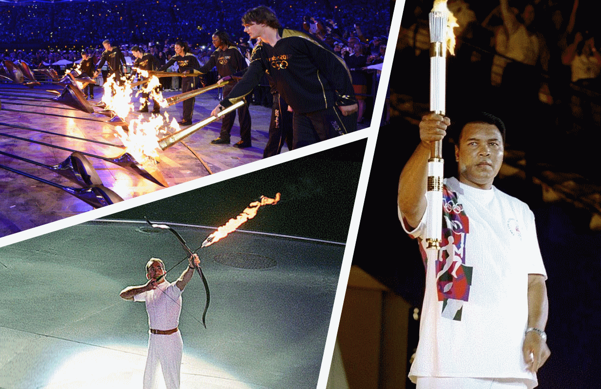 Clockwise from top: The lighting of the Olympic Cauldron in London 2012, Atlanta 1996, and Barcelona 1992.