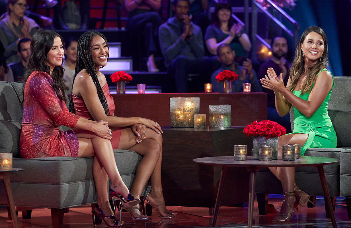 Kaitlyn Bristowe, Tayshia Adams, and Katie Thurston prepare for tonight's Men Tell All drama. (Photo: ABC)