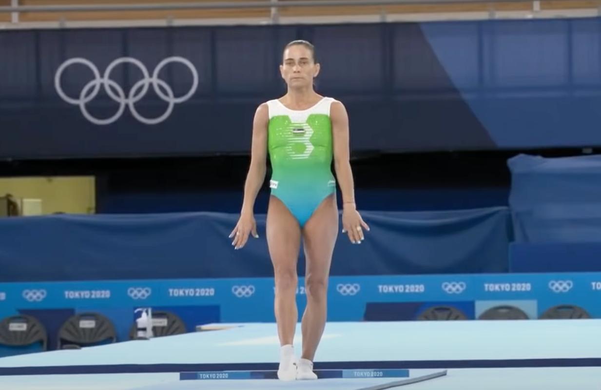 Gymnast Oksana Chusovitina prepares her vault at the Tokyo Olympics (Photo: YouTube)