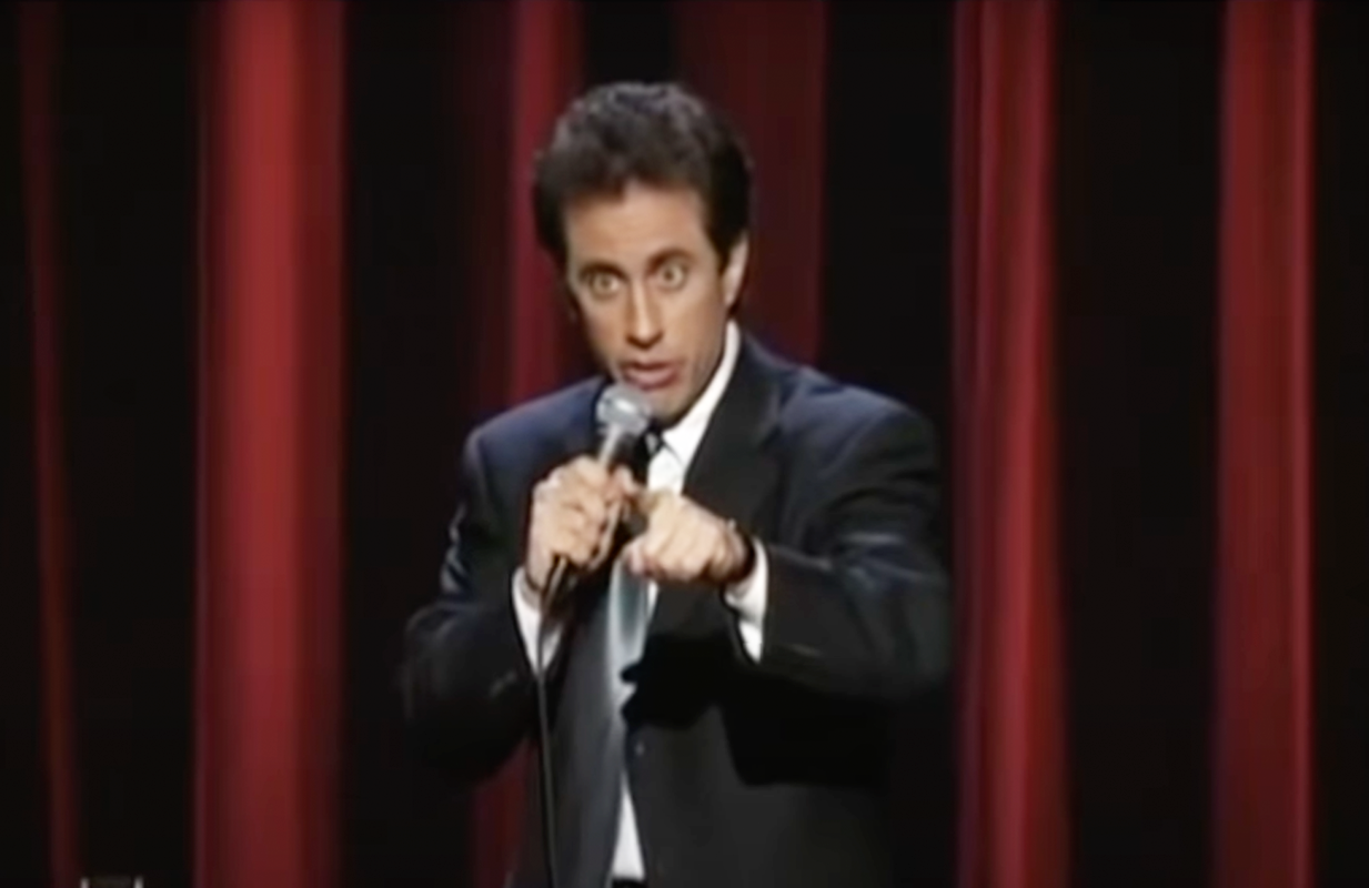"""Jerry Seinfeld at his 1999 """"I'm Telling You For the Last Time"""" tour. (Photo: YouTube)"""