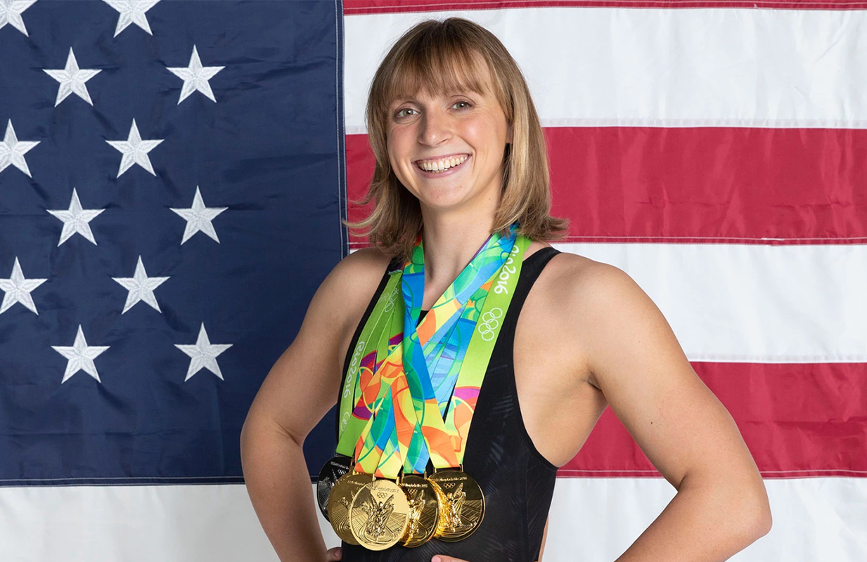 Katie Ledecky wears her five gold medals from previous Olympics. (Photo: NBC Olympics)