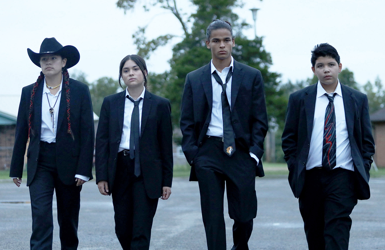 Reservation Dogs' core four, from left: Paulina Alexis as Willie Jack, Devery Jacobs as Elora Danan, D'Pharaoh Woon-A-Tai as Bear, and Lane Factor as Cheese. (Photo: Shane Brown/FX)