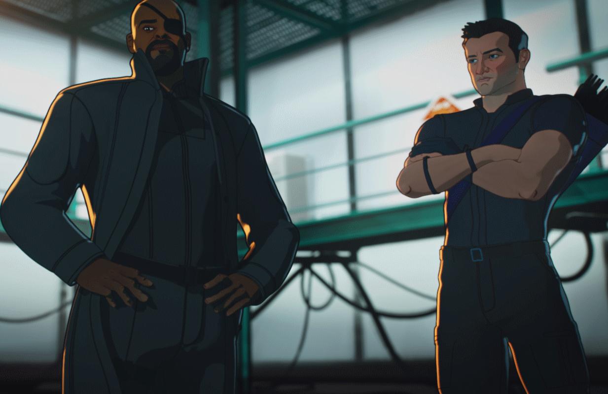 Samuel L. Jackson as Nick Fury and Jeremy Renner as Clint Barton / Hawkeye.