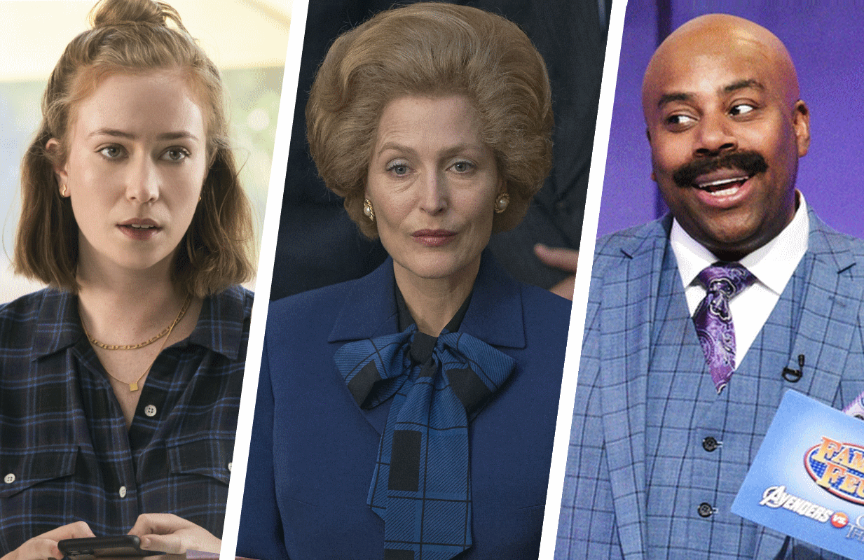 Hannah Einbinder  in Hacks, Gillian Anderson in The Crown, and Kenan Thompson in Saturday Night Live. (Photos: HBO Max, Netflix, and NBC)