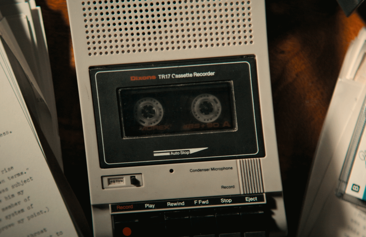 Memories of a Murderer: The Nilsen Tapes inverts tropes like the cassette-player B-roll. (Netflix)