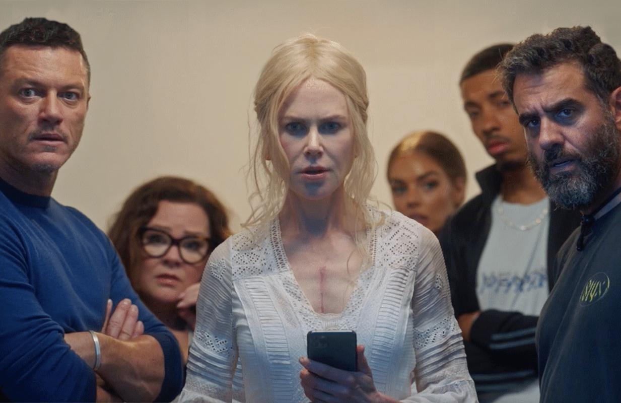 Luke Evans, Melissa McCarthy, Nicole Kidman, Samara Weaving, Melvin Gregg and Bobby Cannavale in Nine Perfect Strangers. (Hulu)