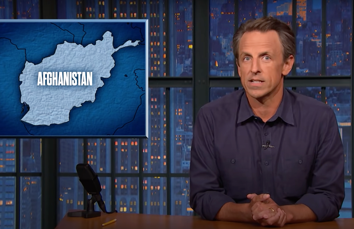 Seth Meyers took CNN to task for giving Afghanistan war hawk John Bolton free rein to drag the military withdrawal. (Photo: NBC)