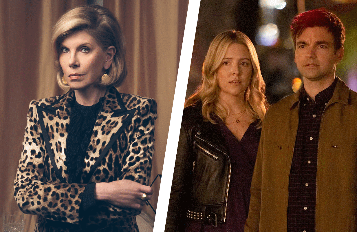 Christine Baranski in The Good Fight (Liz Fisher/Paramount+), and Heléne Yorke & Drew Tarver in The Other Two  (Greg Endries/HBO Max)