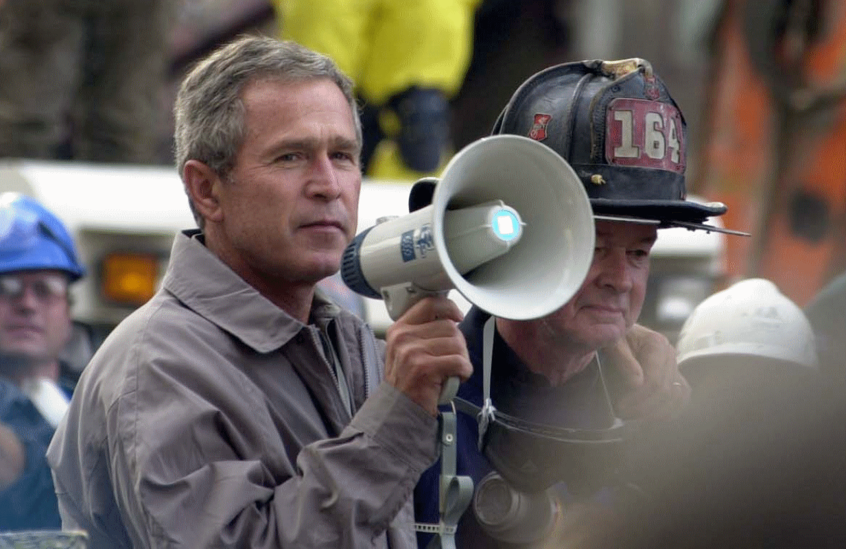 President George W. Bish Bush addresses rescue workers at Ground Zero on September 14, 2001. (Photo: SFC Thomas R. Roberts/ NGB-PASE)
