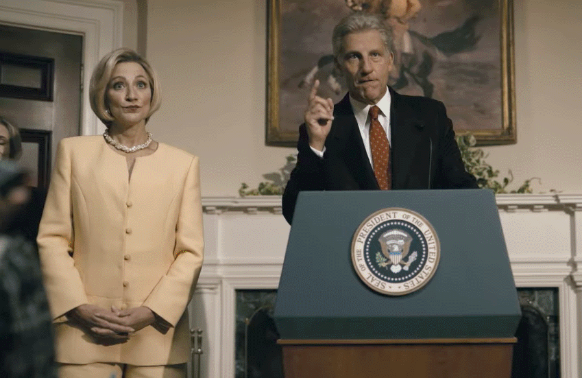 Edie Falco and Clive Owen in Impeachment: American Crime Story.