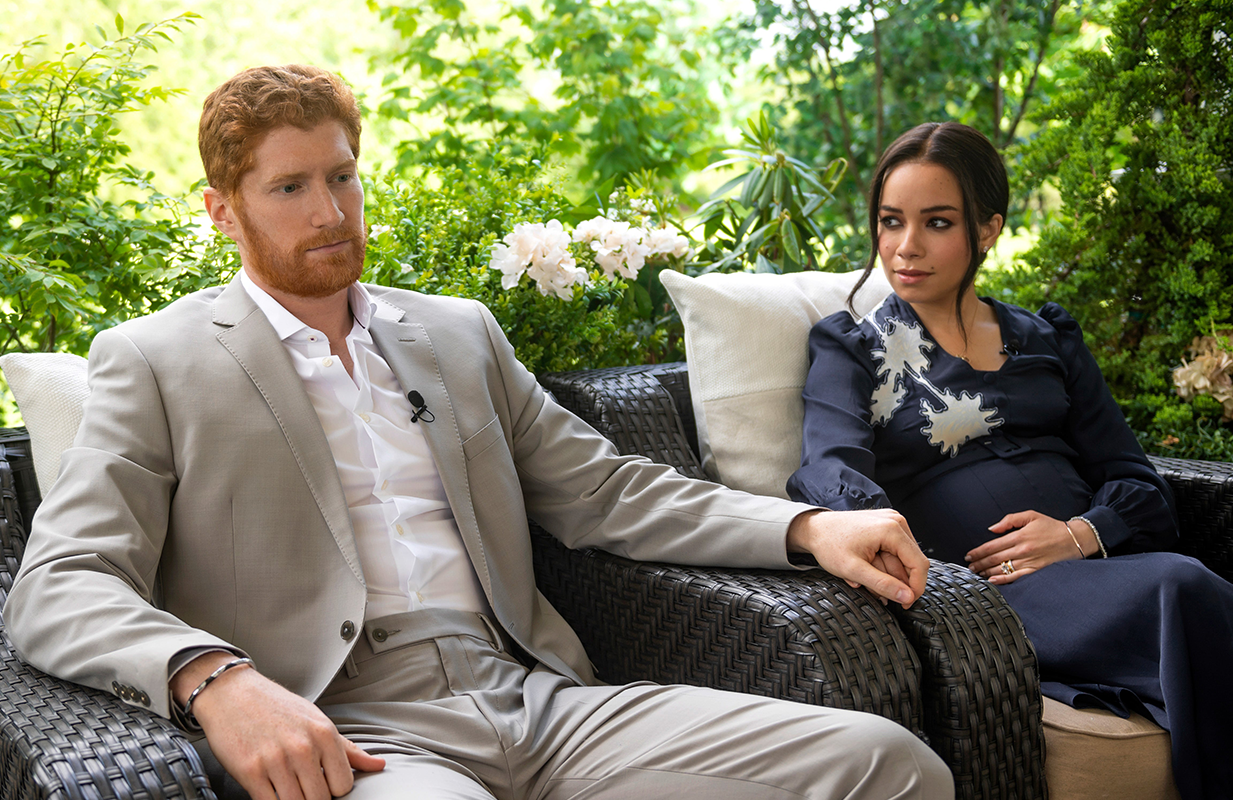 The TV movie ends with Harry and Meghan's bombshell Oprah interview. (Photo: Lifetime)