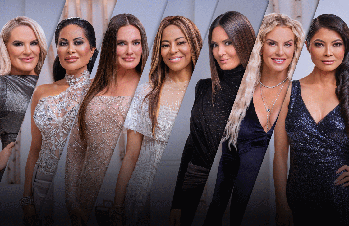 The Real Housewives of Salt Lake City Season 2 cast, from left to right: Heather Gay, Jen Shah, Meredith Marks, Mary Cosby, Lisa Barlow, Whitney Rose, Jennie Nguyen. (Photo: Chad Kirkland/Bravo)