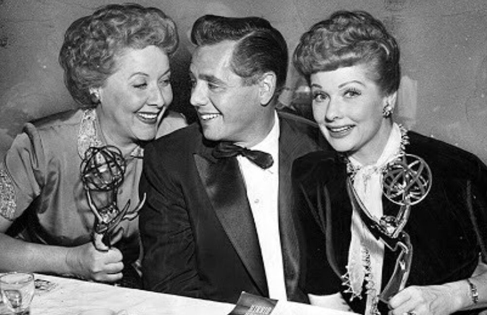 Vivian Vance, Desi Arnaz and Lucille Ball at the 1954 Emmy Awards.