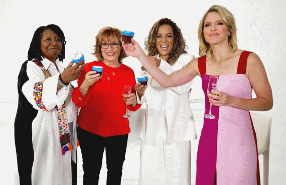 The co-hosts raise a cupcake to Barbara Walters in the show's Season 25 teaser. (Photo: ABC)