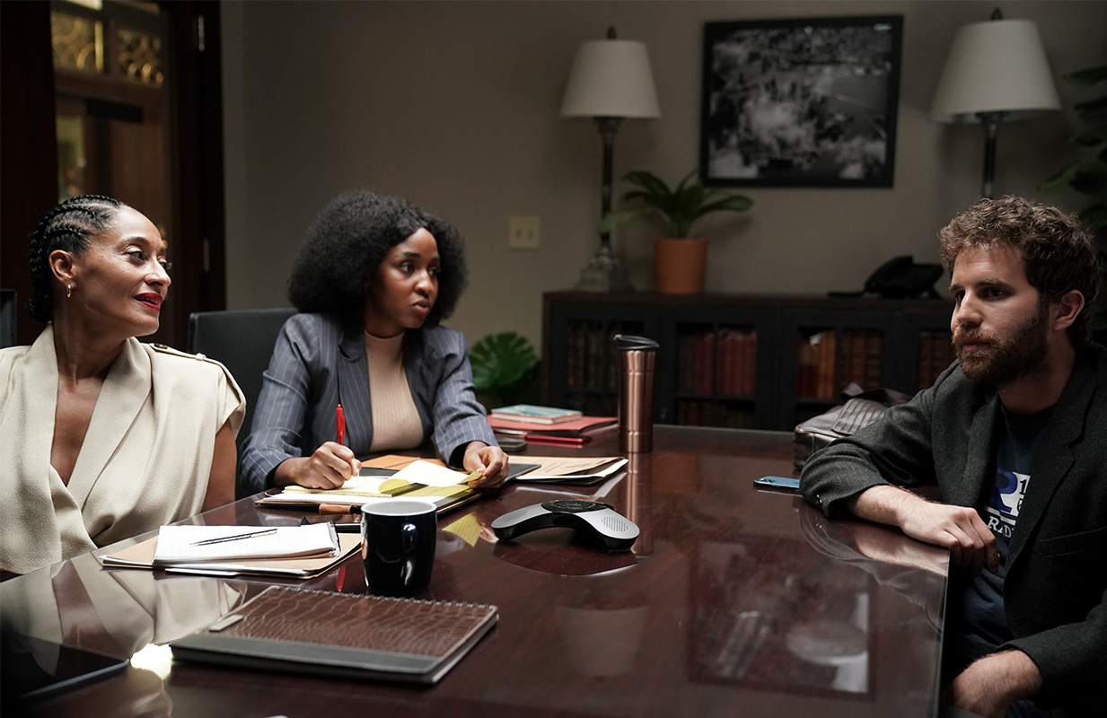 "Tracee Ellis Ross, Ayo Edebiri, and Ben Platt in ""Social Justice Sex Tape."" (Photo: FX)"