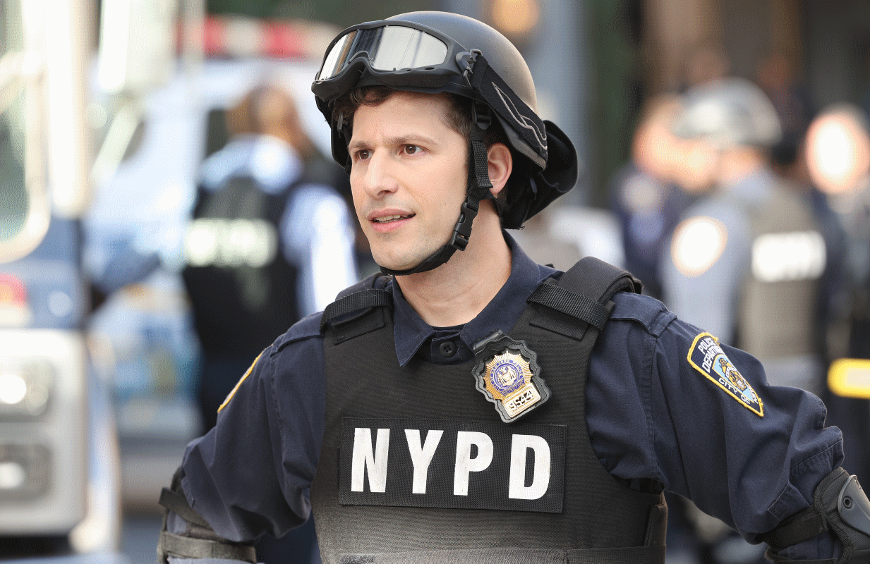 Brooklyn Nine-Nine bids farewell tonght after 150 episodes and two networks. Pictured: Andy Samberg as Jake Peralta. (Photo: Jordin Althaus/NBC)