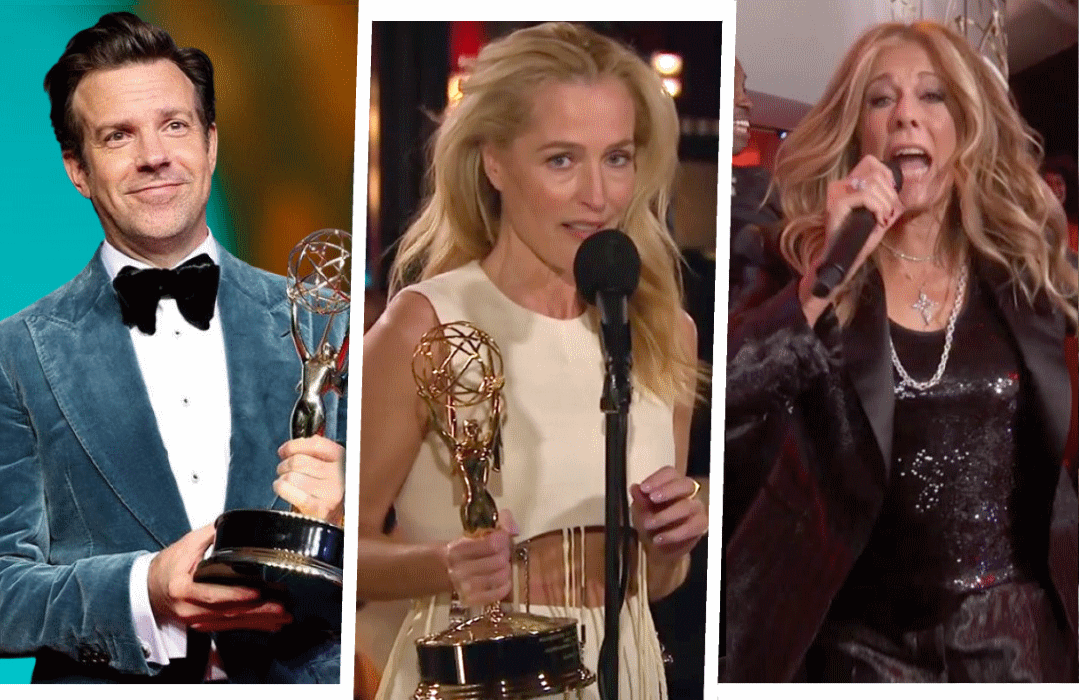 Jason Sudekis, Gillian Anderson and Rita Wilson at Sunday night's 73rd Primetime Emmy Awards. (CBS)