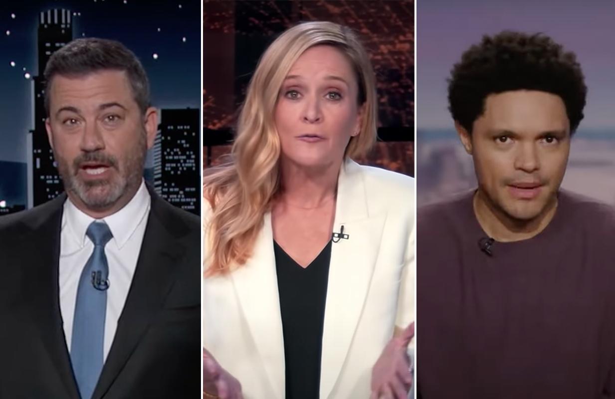 Jimmy Kimmel, Sam Bee, and Trevor Noah on late night's Climate Night (Photos: ABC/TBS/Comedy Central)