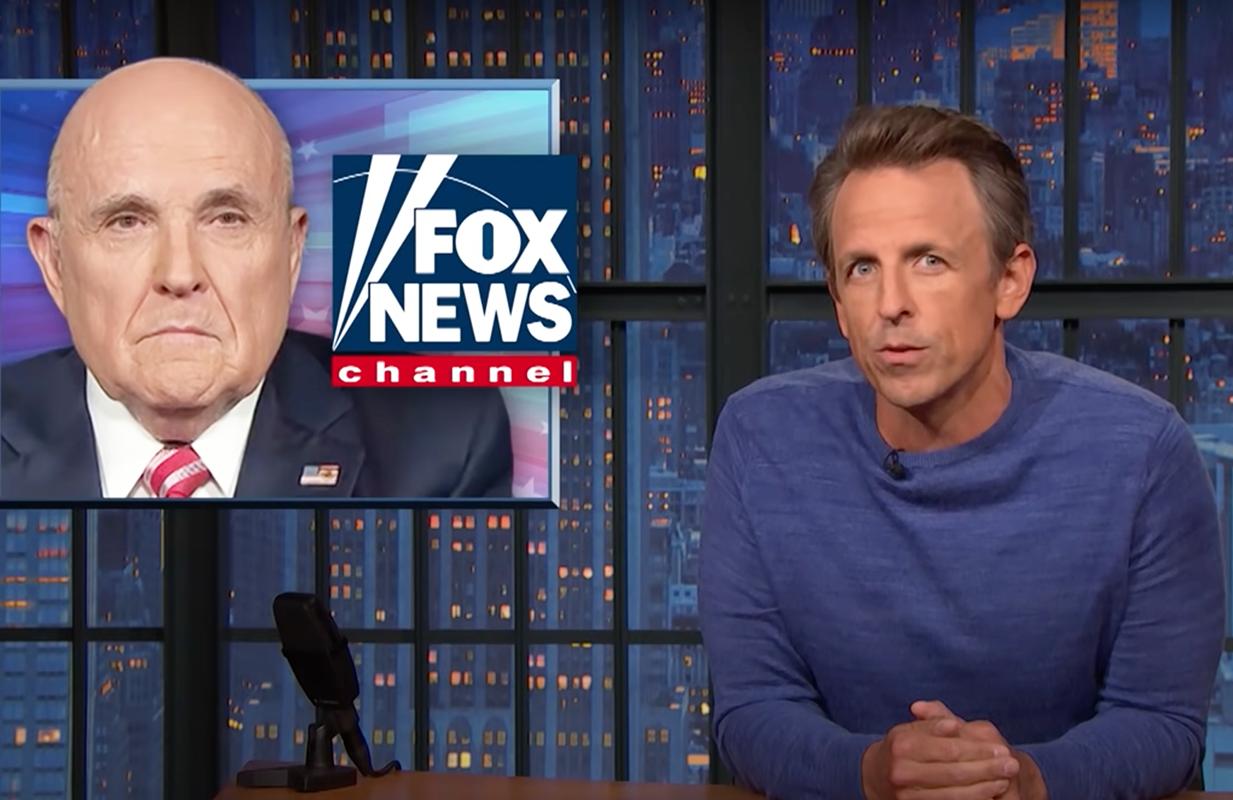 Seth Meyers discusses Rudy Giuliani's Fox News ban on Late Night (Photo: NBC)