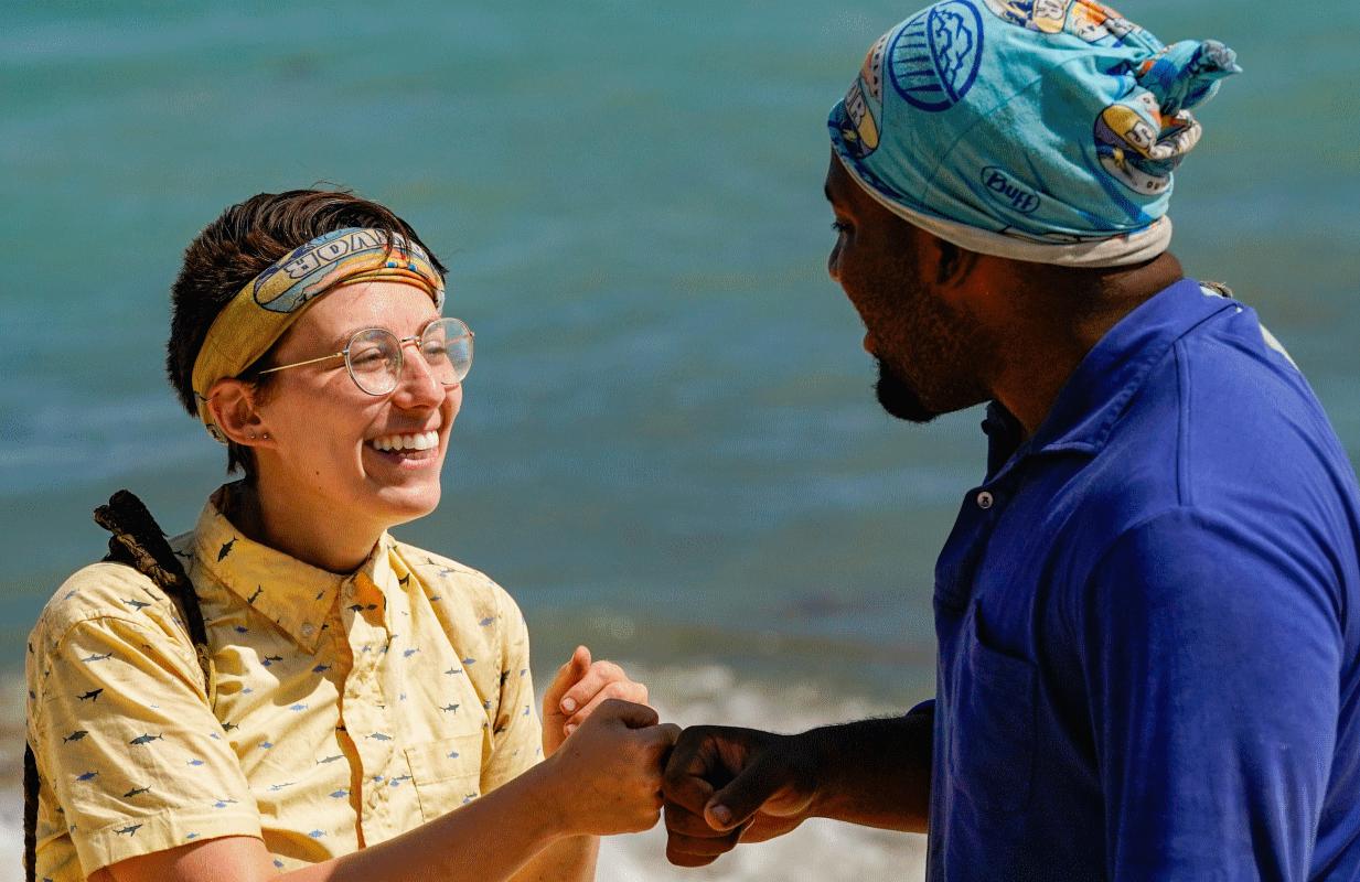 Evvie Jagoda and Deshawn Radden in Wednesday night's Survivor (Photo: Robert Voets/CBS)