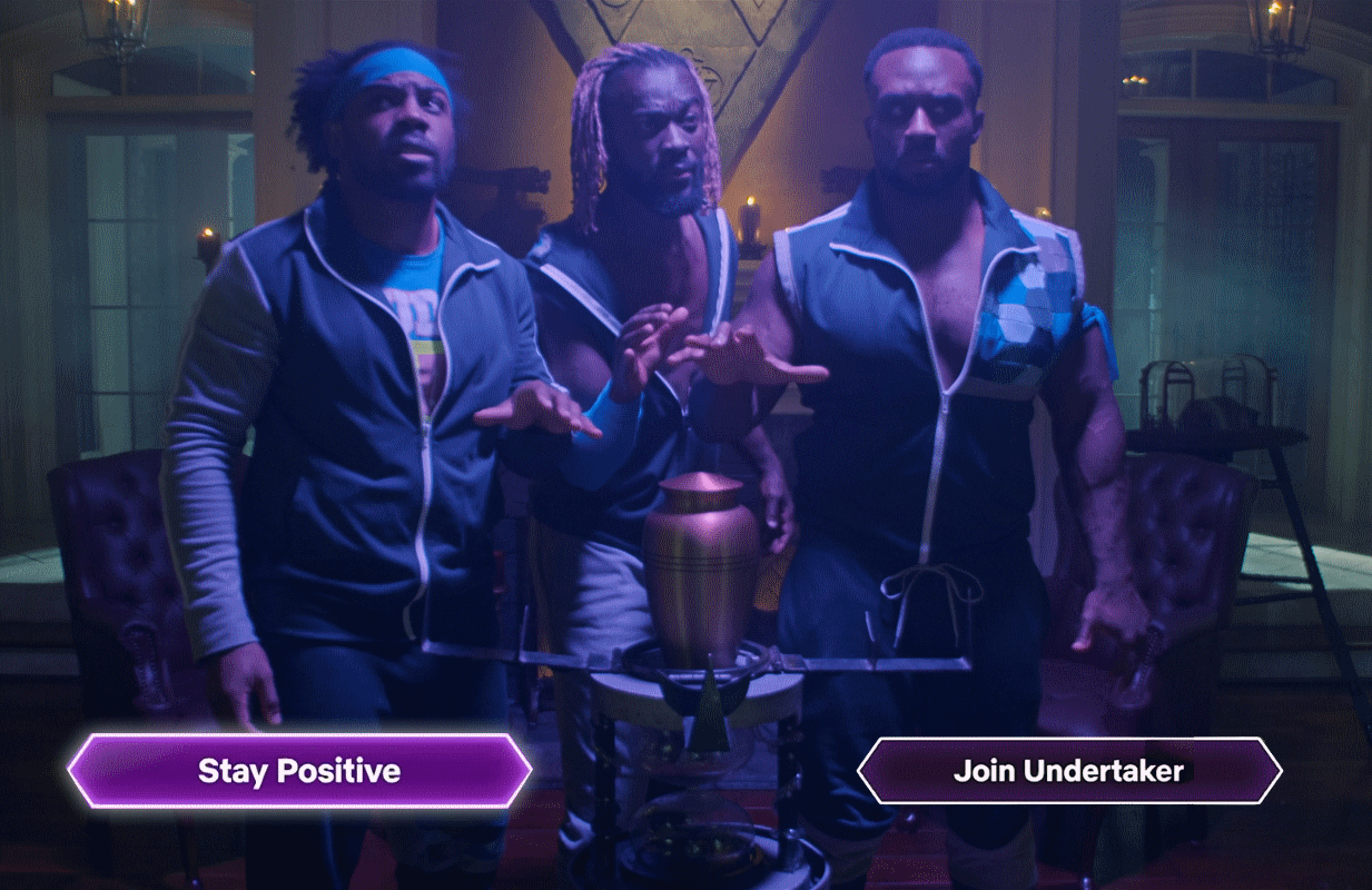 It's a rough night for The New Day as they pay a visit to WWE legend The Undertaker in Netflix's Escape The Undertaker.