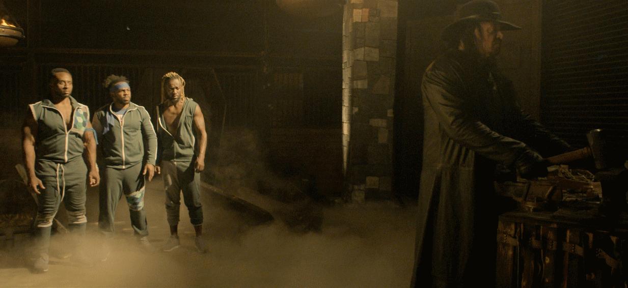Big E, Xavier Woods, Kofi Kingston and The Undertaker in Escape The Undertaker.(Photo:Netflix)