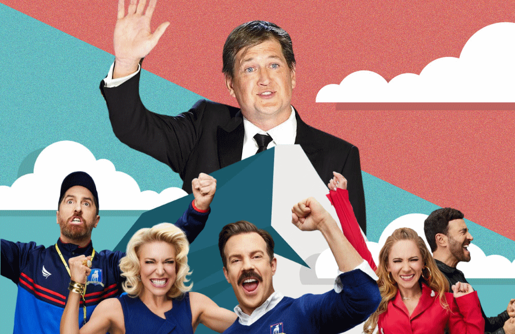 Let's hear it for Ted Lasso co-creator and showrunner Bill Lawrence. (Photos: Apple TV+, CBS)
