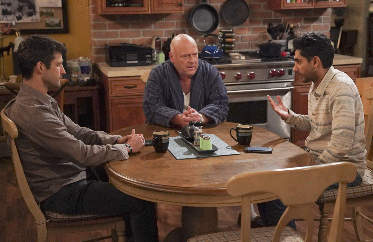 Parker Young, Dean Norris and Adhir Kalyan in a scene from the Season 2 premiere of United States of Al. (Photo: Michael Yarish/CBS)