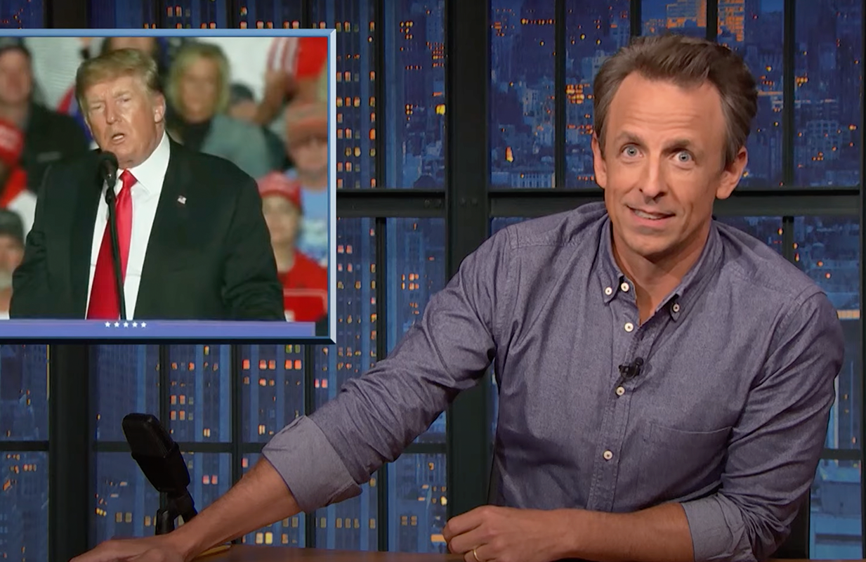 Seth Meyers talks about Trump's Iowa rally (Photo: NBC)