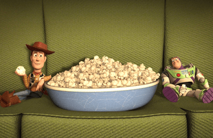 Woody and Buzz Lightyear enjoy Pixar popcorn. Will you? (Photo: Pixar/Disney)