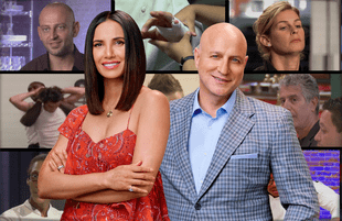 Top Chef's Padma Lakshmi and Tom Collichio. (Bravo)