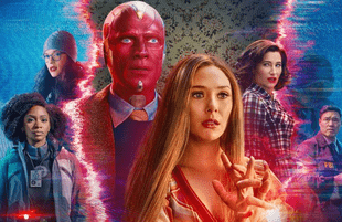 Teyonah Parris, Kat Dennings, Paul Bettany, Elizabeth Olsen, Kathryn Hahn and Randall Park in WandaVision. (Disney+)