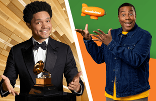 Trevor Noah hosts The 63rd Annual Grammy Awards, Kenan Thompson hosts the 2021 Kids' Choice Awards. (Photos: CBS/Nickelodeon)