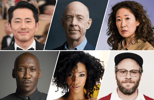 Top row: Steven Yeun, JK Simmons, Sandra Oh. Bottom row: Mahershala Ali, Sonequa Martin-Green, Seth Rogen.