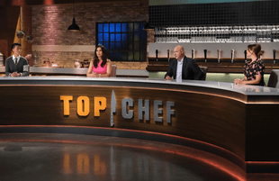 Distance makes the heart grow fonder. Melissa King, Padma Lakshmi, Tom Colicchio and Gail Simmons in Top Chef.  (Photo: David Moir/Bravo)