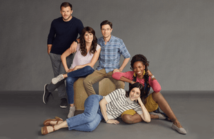 Jimmy Tatro, Karla Souza, Topher Grace, Caitlin McGee, and Sasheer Zamata in Home Economics. (ABC/Sami Drasin)
