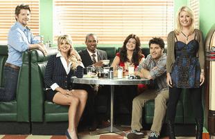 Zachary Knighton, Eliza Coupe, Damon Wayans Jr., Casey Williams, Adam Pally, Elisha Cuthbert of Happy Endings (ABC)