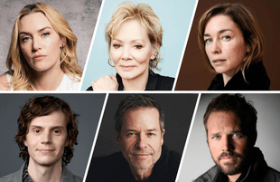 Top row: Kate Winslet, Jean Smart, Julianne Nicholson. Bottom row: Evan Peters, Guy Pearce, David Denman.
