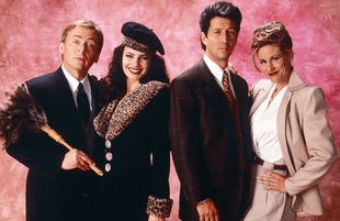 Daniel Davis, Fran Drescher, Charles Shaughnessy and Lauren Lane in The Nanny. (Photo: CBS)