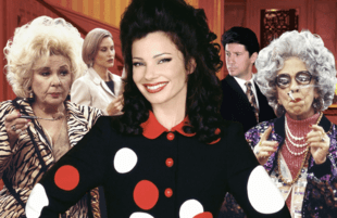 Renée Taylor, Lauren Lane, Fran Drescher, Charles Shaughnessy and Ann Morgan Guilbert in The Nanny.