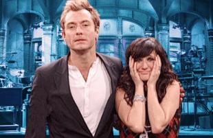 Jude Law and Ashlee Simpson on Saturday Night Live. (NBC)