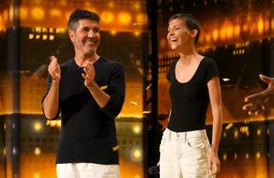 Simon Cowell and his Golden Buzzer contestant, Nightbirde. (Photo: NBC)