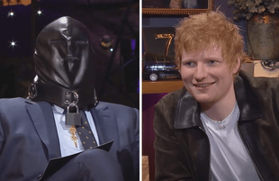 Ed Sheeran taught James Corden all about gimp masks last night on The Late Late Show. (Photos: CBS)