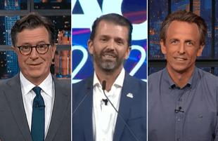 Stephen Colbert and Seth Meyers took turns taking down Don Jr. Monday night. (Photos: CBS/NBC)