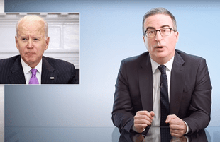 John Oliver next to a graphic of Biden on Last Week Tonight (Photo: HBO)